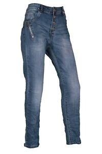 Karostar Damen Jeans Hose Denim Collection Blau Zipper Stretch Big Size L-4XL