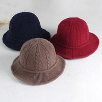 EE_ FJ- FX- Women Winter Solid Twist Folding Bucket Sun Hat Knitted Fisherman Ca