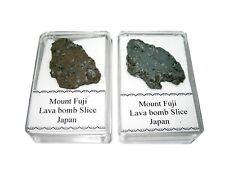 Mount Fuji Volcanic lava rock slice in display case 1 per bid nice specimens (s)