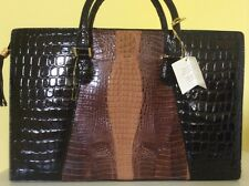 NWT GENUINE  LEATHER CROCODILE EMBOSSED LARGE SATCHEL TOTE Bag $399.00+ MUST SEE