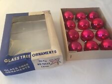 Brite Star Red Mini 30mm Glass Tree Ornaments One Dozen Original Box 70533 Japan