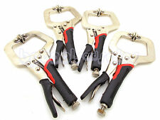 "(Qty 4) 6"" Locking Vise C-Clamp Pliers Flex Pads TPR Grip Hand Tool Welding"