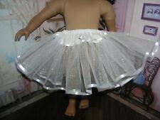 "White Sparkle Slip Petticoat Crinoline Ribbon Trim 23"" Doll clothes fit My Twinn"