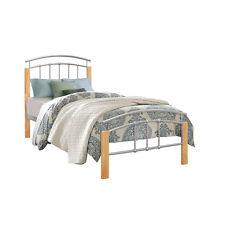 Tetras 90cm 3FT Single Beech & Silver metal wood Bed Frame Bedstead