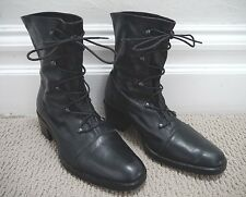 ANN DEMEULEMEESTER black leather lace-up ankle boots size 37