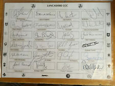 1960-90s Signed by 24 Lancashire CCC Players Team Sheet Akram Simmons Bond Irani