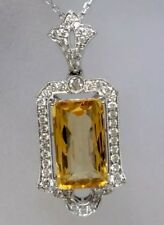 9.07ct CHECKER CUT CITRINE DIAMOND ART DECO STYLE PENDANT SOLID 14K WHITE GOLD