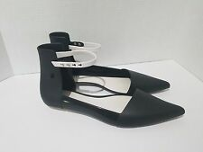 Melissa Cutting D'Orsay Black Scented Snap Strap Pointed Toe Flat Shoes 10 M