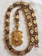 Antique Victorian Gold Filled Book Chain Necklace & Mourning Locket 60 Grams