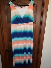 Elementz Womens Plus Maxi Dress Size 1X multi color stripes