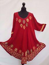 Long Sleeve Tunic Batik Boho Embroidered Kaftan/Beach Dress 20 22 24 26 28 30