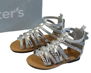 Carter's Smile Toddler Girls 5/6/7/8 Silver Gladiator Sandals Glittery Summer
