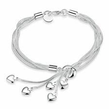 *UK* 925 Silver Plt Multi 5 Love Heart Chain Charm Bracelet / Bangle / Anklet
