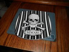 New 222 Fifth Halloween Skull Black & White Beware Plate