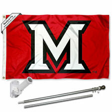 Miami Redhawks Flag Pole and Bracket Gift Set Package