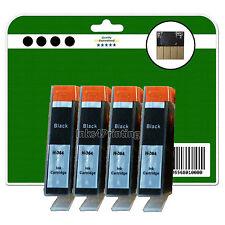 4 Black non-OEM Chipped Ink Cartridges for HP 6520 B109a B109c B109d 364