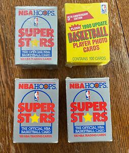 Lot Of (4) 1990 NBA HOOPS BASKETBALL Super Stars Box & FLEER Update Box Sealed