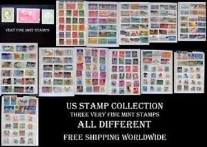 US Stamp Collection With 3 Very Fine Mint Stamps, All Different, Free Shipping