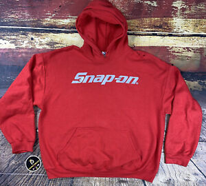 Snap On Tools Men's Pullover Faded Red Distressed Hoodie Size XL Mechanic