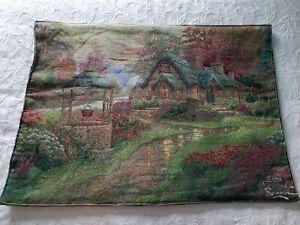 Wall Tapestry Thomas Kinkade Large Lighted Christmas Spring Scene 2 Sided