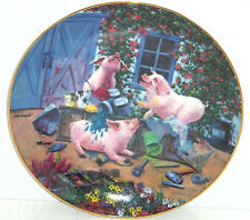 Pigs in Bloom Hogs Pigmentation Collector Plate Danbury Mint Pig Retired