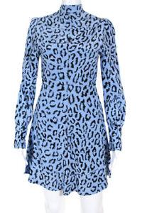 A.L.C. Womens Leopard Print Marcella Dress Blue Black Size 2 12612595