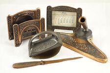 Antique K&O Kronheim Oldenbusch Japanned Desk Set Pen Rest Calendar Letter Pen