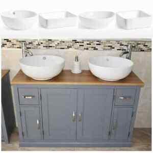 Bathroom Vanity Unit | Grey Sink Cabinet | Double Ceramic Wash Basin Tap & Plug