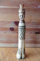Bovine Bone Container Hand made carved Chief Medicine Tribal etched vintage vile