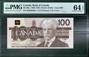 Canada BC 60a-i 1988 $100 PMG 64 UNC Rare