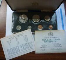 1971 Trinidad & Tobago - Official Proof Set (7) w/ 1 Oz Silver Crown - Box, Coa