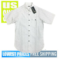 Levi's Men's NWT SKATEBOARDING Short Sleeve Button Front Shirt WHITE LARGE