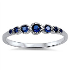 USA Seller Blue Sapphire CZ Ring Sterling Silver 925 Best Deal Jewelry Size 5