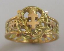 Vintage 9ct Yellow Gold Two Tone Cross Of Lorraine Signet Ring Size S 1/2
