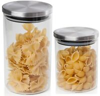 Sabichi Large Clear Glass Storage Cookie Biscuit Pasta Jar Push Lid. Airtight