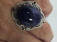 Vintage Genuine Blue Lapis Lazuli Sterling Silver Size 9 Cocktail Ring