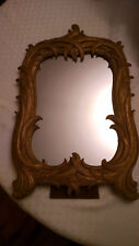 Vintage Syroco Wood Mirror, Standing or Hanging Mirror, Feathery Wood Design