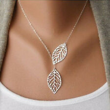 New Fashion Women Silver Leaf Pendant Charm Plated Party Chain Necklace