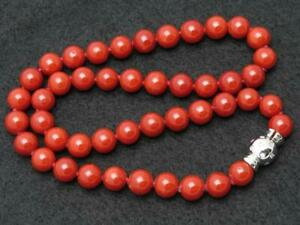 """Antique Mediterranean Coral Beads Necklace 10K White Gold Over Clasp in 20"""" RAR"""