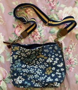 Fat Face Blue Floral Cotton Crossbody Bag