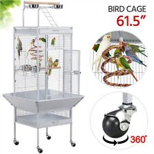 """61"""" Play Open Top Bird Cage for Small/Medium Birds Cockatiels Finch White Used"""