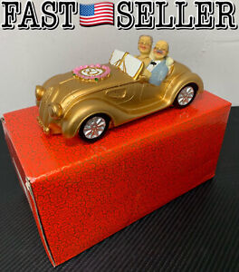 50th Wedding Anniversary Gift Cake Topper & Piggy Bank, Couple in A Gold Car