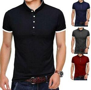 Mens Grandad Collar Shirt Mandarin Slim Fit Polo T-Shirt Top Short Sleeve PL19