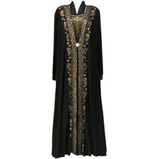 Muslim Women Black Abaya Kaftan Jilbab Islamic Arab Maxi Rhinestone Dress-US