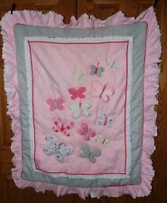 """Just Born Antique 36"""" X 42"""" Nursery Crib Comforter With Raised Butterfly'S Xc"""