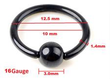 Nose Body Piercing Black Pair 12mm 16G Titanium Steel Captive Bead Ring