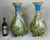 XL pair antique vieux paris hand paint porcelain vases hunting dog deer scene