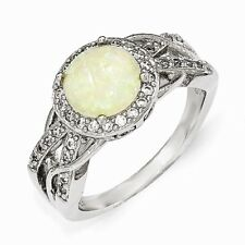 Cheryl M Sterling Silver CZ and Opal Ring Size 6 #1024