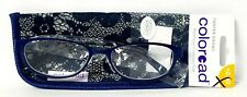 "Foster Grant Coloread ""Isa"" Navy Premium Reading Glasses w/Crystal Vision +2.00"