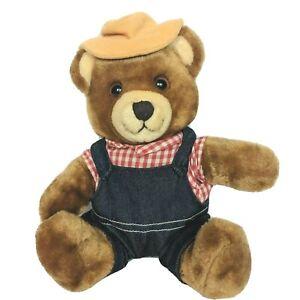 "Vintage Del Monte Brawny Teddy Bear Plush Overalls Hat Stuffed Animal 1985 10.5"""